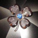 Coro mesh four leaf clover blue rhinestone signed vintage  St Pats