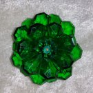 Vintage pin brooch emerald green glass crystal Lucite flower  Downton Abbey