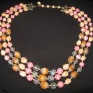 Vintage Unique pink peach art glass swirl necklace crystal  Japan
