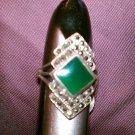 Marcasite green agate elegant sterling silver ring size 7 vintage 80s