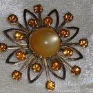 Star burst flower rust amber rhinestone vintage pin brooch lucite atom