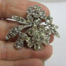 Vintage clear rhinestone pin brooch flower leaf dramatic silver tone