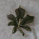 Signed BSK Gold leaf rhinestone brooch pin vintage Rare wonderful