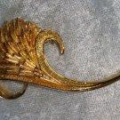 Gold tone flower bud Art novelu vintage pin brooch different leaf curly