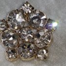 Vintage pin brooch clear rhinestones  gold tone star