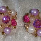 Signed Germany earrings clip on Pink Purple white stones different collectable