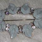 Blue leaf sparkle aurora borealis rhinestone oval pin brooch vintage