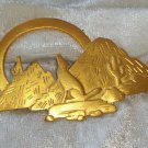 Signed JJ 1988 Southwestern coyote mountains gold tone cactus brooch pin vintage