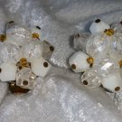 "Vintage earrings cluster button gold tone milk glass and ""ice"" crystals"