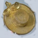 Vintage pin brooch hat rose leaf mesh different and rare Easter red hat cute