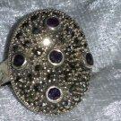 Marcasite Amethyst dome elegant sterling silver ring size 6.5 vintage 80s