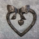 Silver tone heart Bow filigree dangle heart flower vintage pin brooch