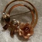 Vintage signed Krementz Rose and yellow gold flower brooch pin