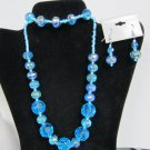 Turquoise blue crystal glass bead earrings necklace bracelet set stunning