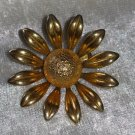 Flower gold tone vintage pin brooch stunning sun flower textured