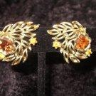 vintage gold tone Signed Coro amber rhinestone earrings clipon Downton Abbey