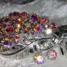 Vintage pin brooch leaf feather AB Pink rhinestones ribbon signed Coro