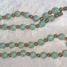 Vintage necklace robins egg blue and gold tone beads 19 inches very pretty