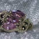 Vintage 9.25 pink ice Marcasite Sterling silver ring  Downton Abbey size 7.5