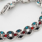 Tibet Silver Multi-Color Resin Bracelet USA Seller diamond shape
