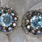 Vintage silver tone earrings Faux blue topaz pink & blue Aurora Borealis
