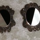 vintage Sterling silver marcasite onyx mother of pearl button earrings