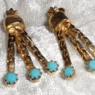 vintage earrings dangle faux turquoise glass gold tone clip on cute petite