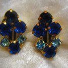 vintage earrings signed made in Austria blue clip on stunning