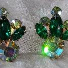 Green vintage rhinestone clip on earrings aurora borealis