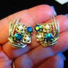 Vintage earrings Aurora Borealis blue stones faux pearls flower feather wings
