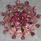 Vintage pin brooch dark light pinks delight rhinestones Austrian leaded glass