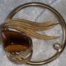 Art deco wreath leaf tigers eye stone gold tone brooch pin vintage
