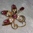 Vintage pin brooch spray flowers rose leaf goldtone pink and clear rhinestones