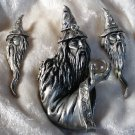 JJ Crystal Gandalf looking Wizard Pewter Brooch Pin Jonette Jewelry Book Piece