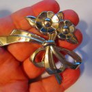 Vintage pin brooch silver tone flower ribbon Mod lovely stamped silver