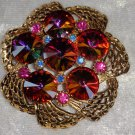 vintage pin brooch red blue pink rhinestones red crystals Downton Abbey