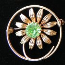 Vintage pin brooch lime green glass crystal  flower  Downton Abbey gold tone