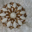 Vintage Signed Marvella pin brooch flower  white cut opaque glass Cabochon