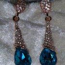 Blue rhinestone sea blue gold tone dagle earrings new clear