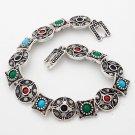 Tibet Silver Multi-Color Resin Bracelet USA Seller multi shape