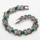 Tibet Silver green Resin Bracelet USA Seller multi shape  7 inches