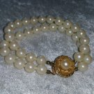Bracelet vintage gold tone faux pearls flower wedding prom chic timeless