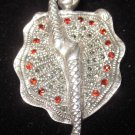 Garnet marcasite Can Can girl pin brooch sterling silver vintage 9.25 French