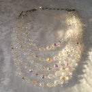 Vintage 5 strands Aurora Borealis clear crystal necklace CHOKER