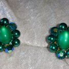 Vintage oval iridescent stone aurora borealis crystal earrings emerald color