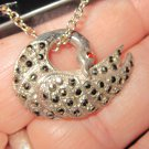 Swan Sterling Silver 9.25 Vintage necklace ruby eye heavy Nice Marcasite