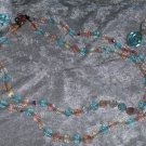 Vintage Pink blue clear crystal beads necklace baby shower 2 tier baby shower