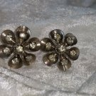 flower earrings rhinestones signed Czechoslovakia silver tone vintage