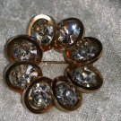 vintage pin brooch Judy Lee unsigned gold tone clear rhinestones different