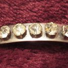 Long silver tone pin brooch 5 rhinestones vintage very different Downton Abbey